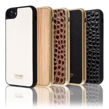 C&T Leather Texture Pattern Flexible TPU Slim Electroplate Frame Bumper Case for iPhone 7