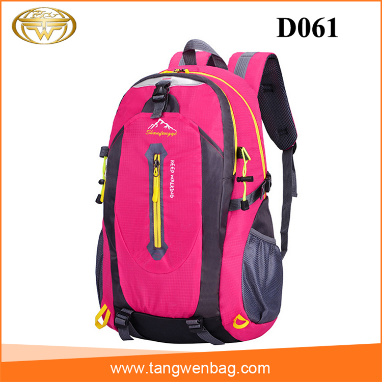 Outdoor Embroidery Logo Pink Hiking Backpack, Outdoor Embroidery ...