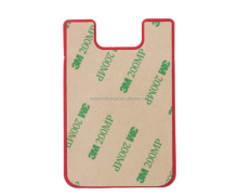 Custom logo printed Smart Wallet Silicone Phone Pouch with 3M sticker