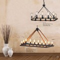 Hemp Rope Chandelier Metal Vintage Rustic Country Style Pendant Lamp Rectangle Island Lights