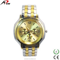 Stainless steel back new model alloy metal band golden man watch