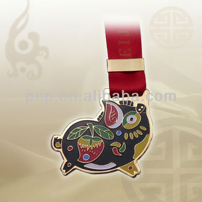 specialized memorable brass animal imitation hard enamel bookmark
