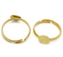 Brass Tone Adjustable Rings Blanks Round Cabochon Ring Setting