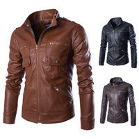 Wholesale Custom Hight Quality European Fashion Mens Leather Motorcycle Jacket M/L/XL/2XL