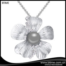 Btime flower pendant long chain pearl necklace Crystals From Swarovski