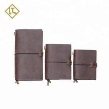 Wholesale cheap custom handmade vintage brown refillable paper genuine leather travelers writing journal diary leather notebook