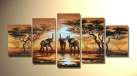 5 Piece Art Set! African Elephant Wild Animals! 100% Hand painted Modern Landscape Oil Painting On Canvas Top Home Decor paint