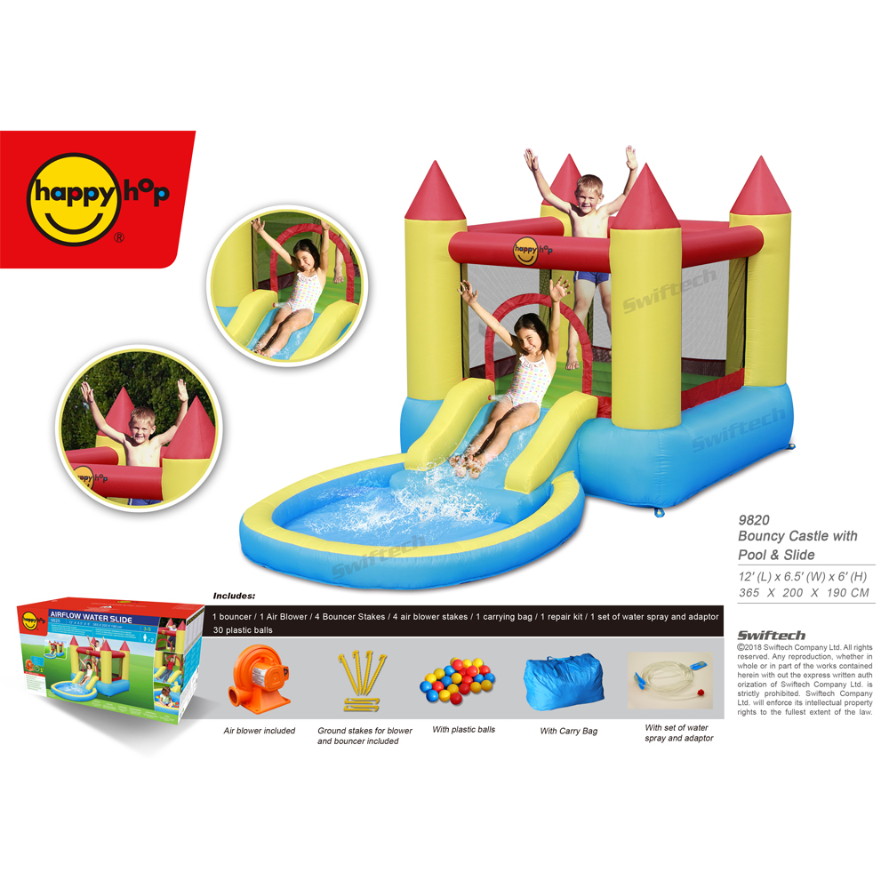 Happyhop 2017 New Design - 9820 Bouncy Castle with Pool and Slide for kids,inflatable water slides for sale