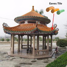 Traditional Walled Chinese Garden colored glaze decoration antique style garden pagoda roofing tiles for houses