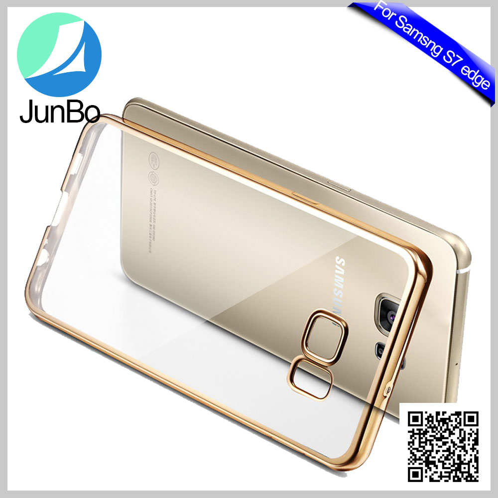 In Stock 360 Degree Full Body Electroplating Front Back Clear TPU Case mobile phone <strong>Cover</strong> For Samsung Galaxy S7 Edge