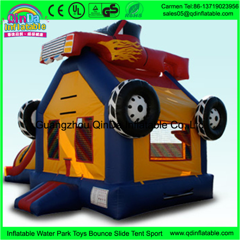 Guangzhou manufacturer supplies cheap castle playground construction truck inflatable bounce car house