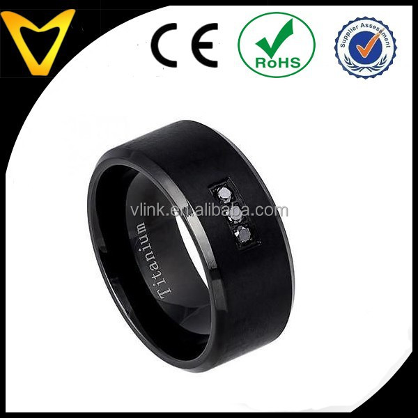 Gems And Jewellery Stainless Steel Titanium Ring, 10MM Titanium Wedding Band Ring Matter Black w 0.05ct Black Stone Beveled Edge