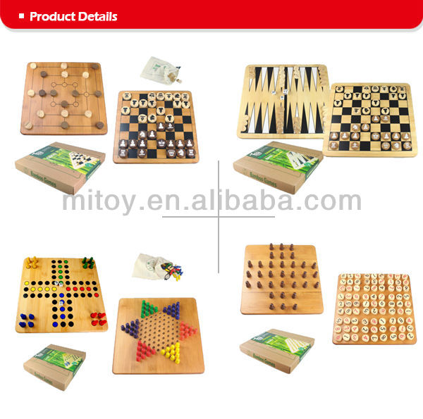 Wooden Checkers & Chess Set 2 in 1 board game