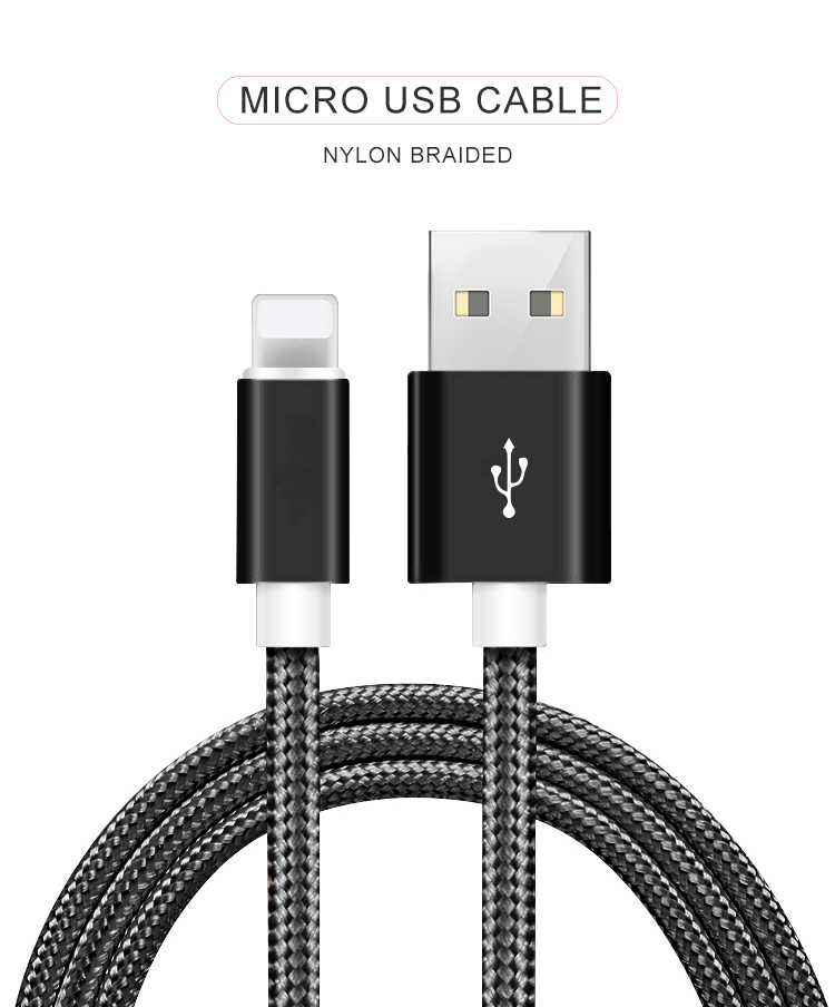 3FT/6Ft/10Ft Cheap Fast Charging Nylon Braided Micro USB Cable for Iphone