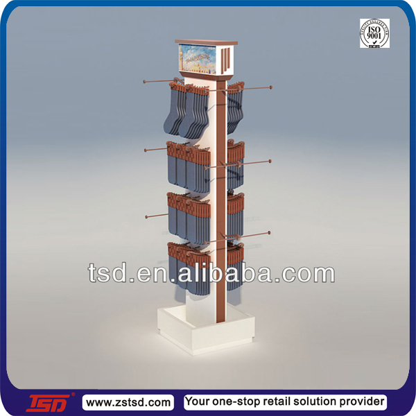 TSD-W289 Custom retail store double side wooden socks display stands/socks display shelf/socks display rack