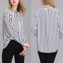 New Style Elegant Women Loose Office Blouse Ladies Striped Shirt