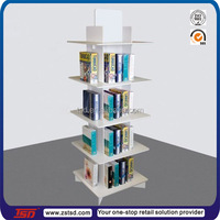TSD-W754 Custom floor standing mdf wooden book display stands,book store furniture,comic book display rack