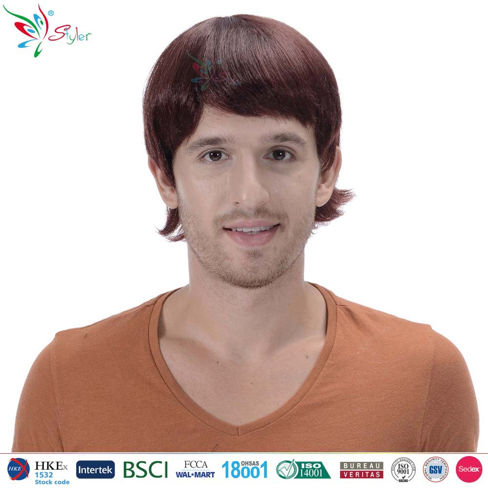 Styler Brand man short natural curly wholesale wig from china