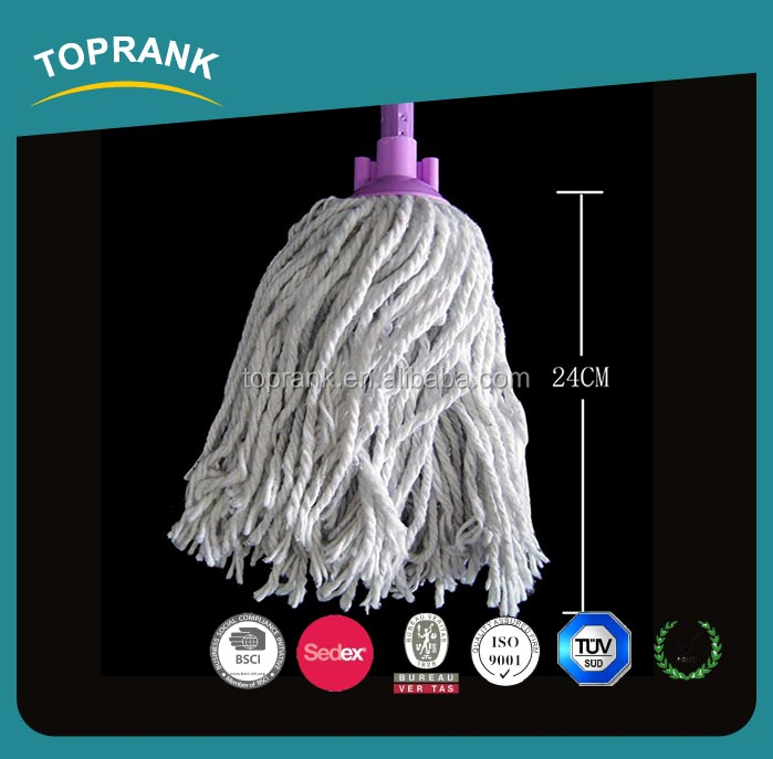 Toprank China Manufacturer OEM Flower Print Handle Plastic Head Floor Cleaning Mop Wet Cotton Mop Head