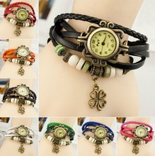 High Quality relogio Women Genuine Leather Vintage Watches Bracelet Wristwatches Four Leaf clover bracelet watch