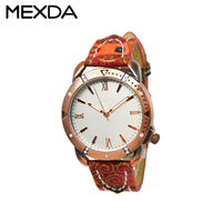 New products colorful PU leather wrist band quartz diamond decorations bezel ladies watches