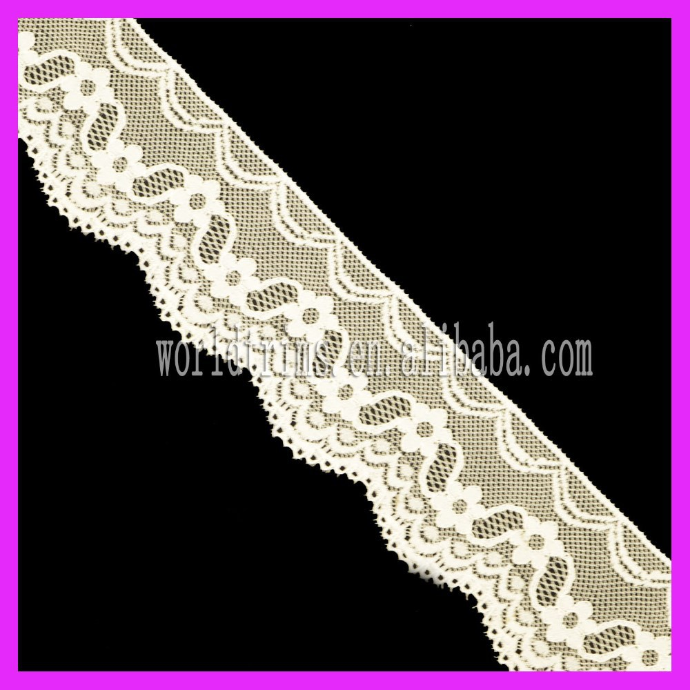 Hot Sell Knitted Stretch Spandex Lace Trim Chemical Elastic Nylon Lace Trimming For Garment WNL78
