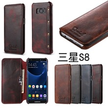 Retro Oil Wax real Leather Wallet Case for Samsung Galaxy S8,S8 Plus