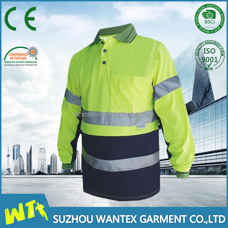 High visibility cotton Reflective Yellow / Orange Safety Working T-shirt for men