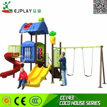Galvanized pipe Amusement Mini plastic slide Outdoor playground equiqpment with swing--COCOU HOUSE Toys