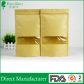 China supply high quality ziplock stand up kraft paper bag with clear window