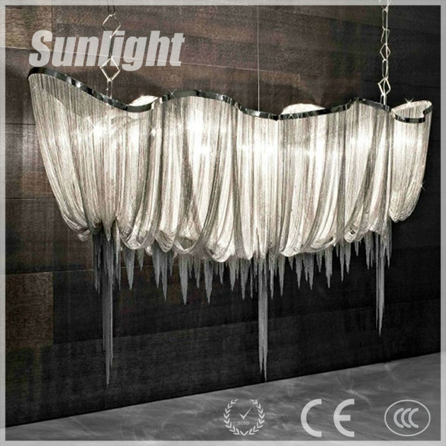 modern industrial chain shape luxury style dinning room decoration vintage chrome pendant light