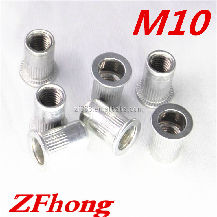 1000pcs <strong>M10</strong> flat head aluminum rivet nut