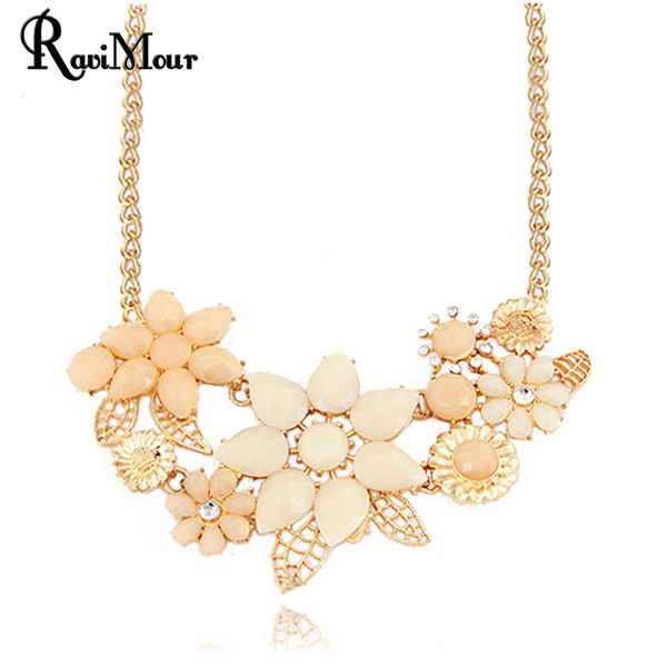 Statement Necklaces & Pendants for Women Flower Collier Femme Gold Plated Choker Colares Femininos Mujer Bijoux Accessories 2016