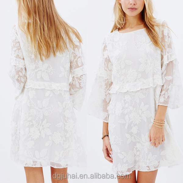 Latest Korean Design Pretty White Round Neckline Ladies Mini Dress Names