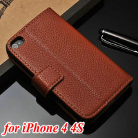 Litchi clemence inside stander PU wallet book case for cell phone especially for I phone 6