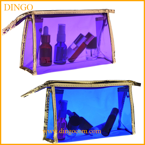 customized transparent waterproof clear zipper plastic travel pvc cosmetic bag
