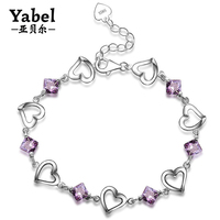 Romantic Heart CZ Stone Jewelry Cute Bracelet Anniversary Gift For Girlfriend