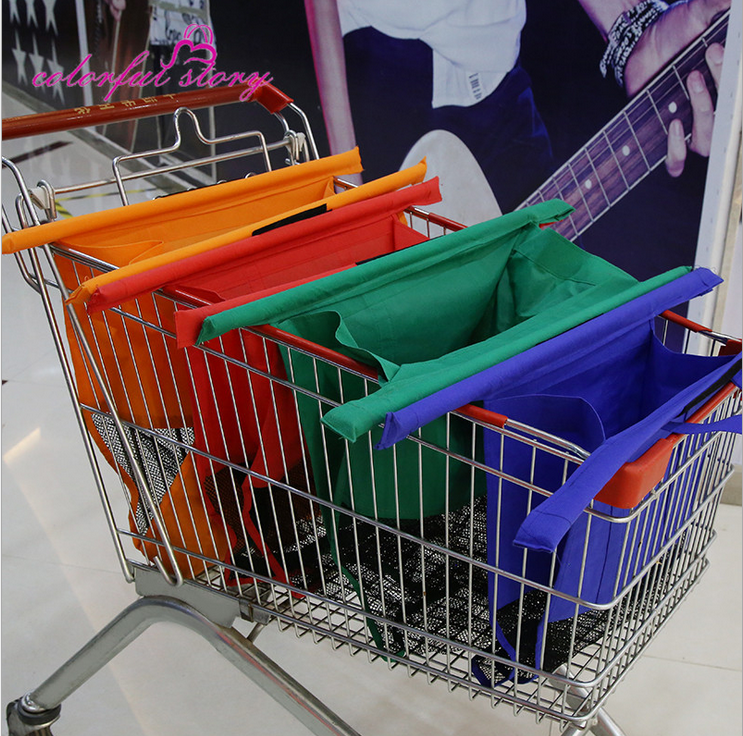 2017 high quality Best selling folding trolley non-woven shopping bag with four different size for shopping trolley cart