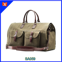 Men's Canvas and Leather Garment Weekender Bag high capacity tote travel bag water-resistant duffle bag wholesale