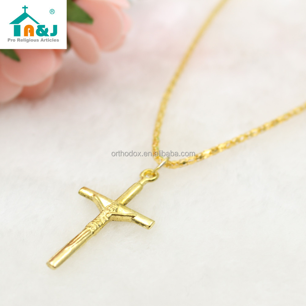 Professional religious factory hot cross with gold jesus pendant Sell well item