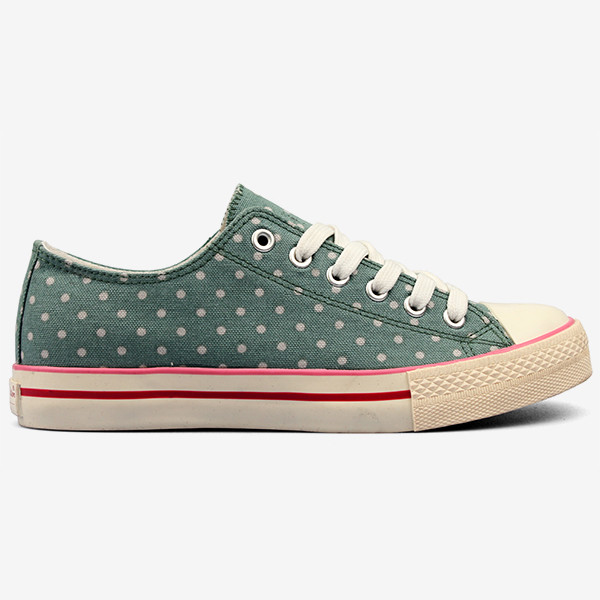 Women's Flats low cut Canvas Shoes Lace up sneakers with Dot Pattern