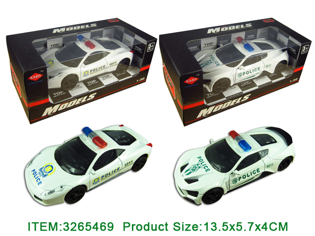 1:32 Pull Back Die Cast Police Car W/ B, Light & Alarm Sound