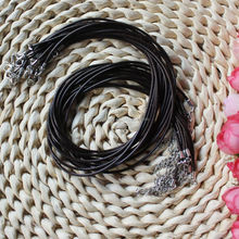 Hot Sale Black Round 2mm PU Imitation Leather Strip Necklace Cord String with Lobster Clasp Extension Chain Length 43cm