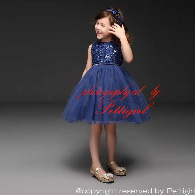 Wholesale Royal Blue Girls Dress With Jacquard Sleeveless Tulle Baby Girl Party Dresses Fancy Children Wear GD40918-9