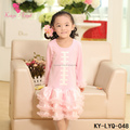 Long Sleeve Pink Children Baseball Printed Cotton Clothing Baby Baseball Dresses