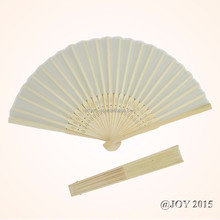 Foldable ivory solid color Silk Hand Fan 21*37cm with 23pcs of bamboo ribs for wedding shop garden Baby Shower decorative fovor