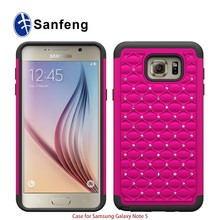 Hot pink pc+black rubber cell phone case for galaxy samsung note 5 edge diamond combo cover