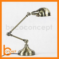 83CM Wrought Iron Retro Antique Brass Adjustable LED Table Lamp