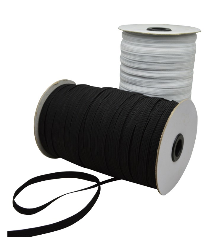 wholesale 10mm Black Polyester Flat Elastic Cord