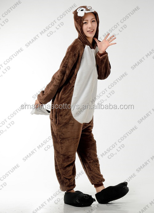 Animal onesie pajamas adult brown chipmunks onesie